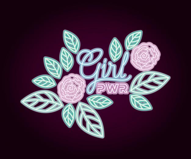 Kobieta moc neon etykiety z dekoracji róż
