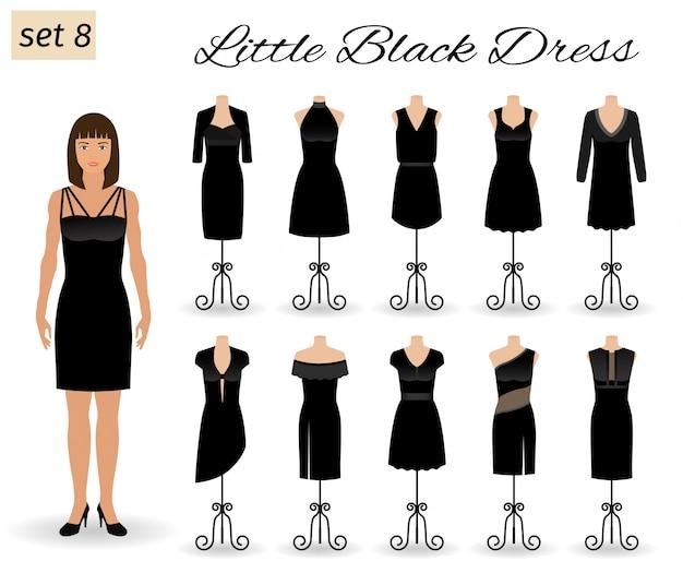 Kobieta moda model w małą czarną sukienkę. zestaw sukienek koktajlowych na manekinach.