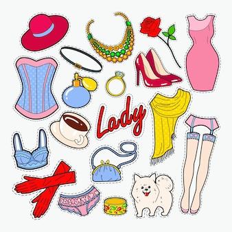 Kobieta moda odznaki i naszywki