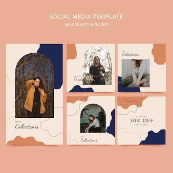 Kobieta moda szablon mediów społecznościowych z abstrakcyjnym tłem