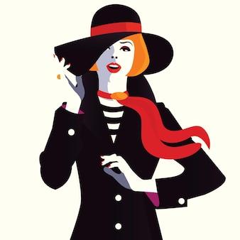 Kobieta moda w stylu pop-art. ilustracja wektorowa