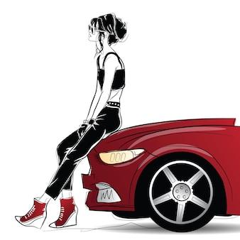 Kobieta moda w stylu szkic w pobliżu czerwonego samochodu.