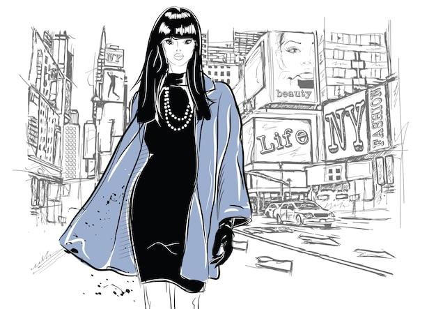 Kobieta moda w stylu szkicu w nowym jorku. ilustracja wektorowa