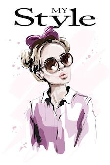 Kobieta moda z kokardą włosów