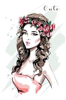 Kobieta moda z portret wieniec kwiatów