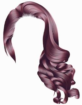 Kobieta modne długie kręcone włosy peruka różowe kolory. styl retro.