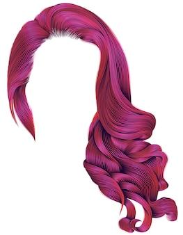 Kobieta modne długie kręcone włosy peruka w jasnych różowych kolorach. styl retro. realistyczny 3d.