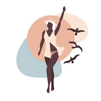 Kobieta, morze i ptaki abstrakcja w beżowej minimalistycznej kompozycji wektorowej