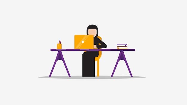 Kobieta muzułmańska laptop
