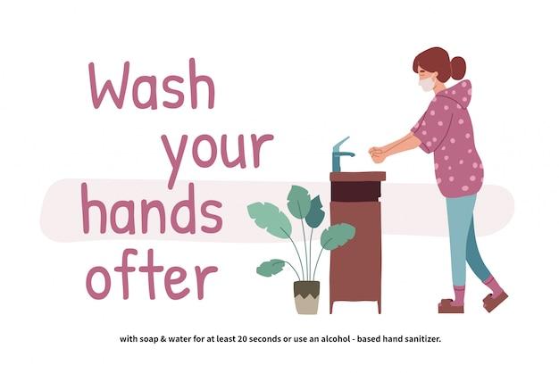 Kobieta mycie rąk. perspektywy młoda dziewczyna stoi przy umywalce. czyste ręce. codzienna higiena osobista. zapobieganie covid-19. ilustracja w stylu cartoon płaski.