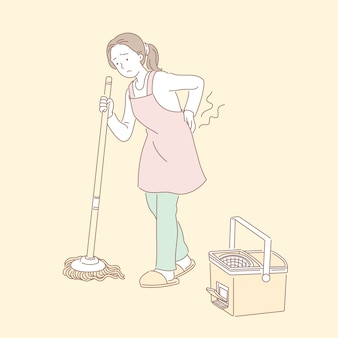 Kobieta myje podłogę i cierpi na bóle krzyża na ilustracji w stylu linii