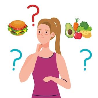 Kobieta myśli, co jeść