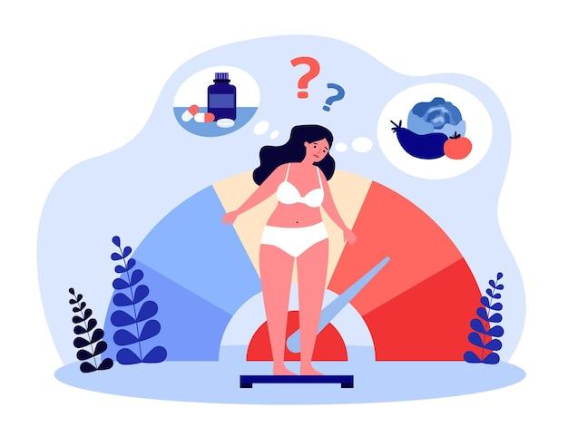 Kobieta myśli o kontroli wagi. dziewczyna w bieliźnie stojąc na skali wątpliwości płaskiej ilustracji wektorowych. suplement diety, koncepcja zdrowej diety na baner, projekt strony internetowej lub stronę docelową