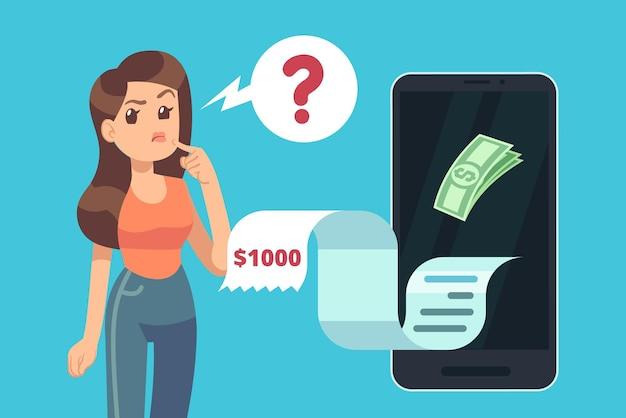 Kobieta myśli o pieniądzach. kryzys finansowy, problemy z kredytami dłużnymi. płatności cyfrowe online za pomocą smartfona. ilustracja wektorowa. kryzys finansowy, dziewczyna myśląca i martwiąca się o pieniądze