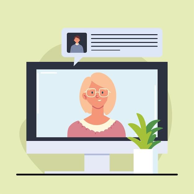Kobieta na ekranie rozmawiająca o pracę