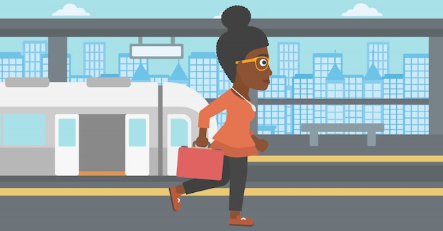 Kobieta na ilustracji wektorowych dworca kolejowego.
