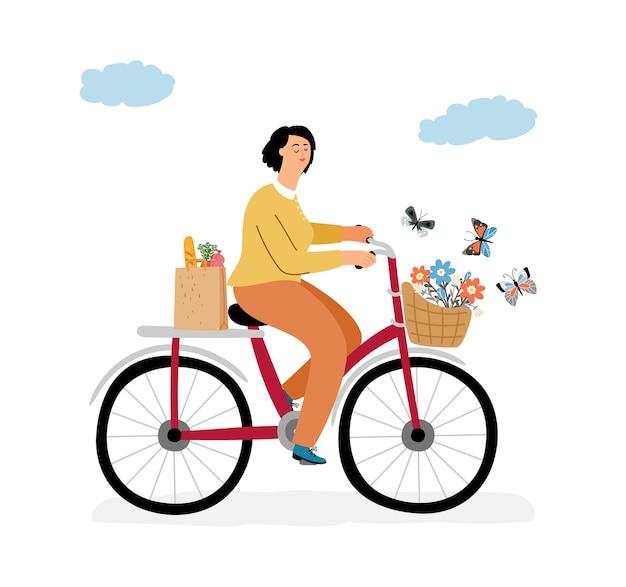 Kobieta na koncepcji roweru.