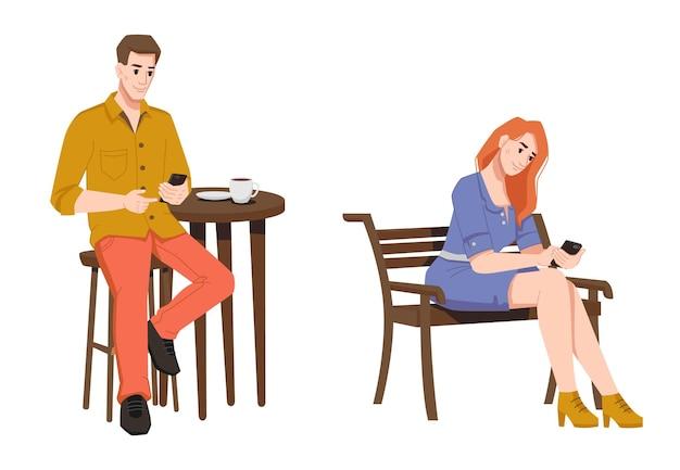 Kobieta na ławce i mężczyzna w kawiarni ze smartfonami