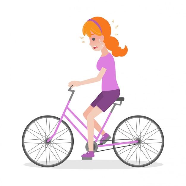 Kobieta na rowerze koncepcja udar medyczny opieki zdrowotnej heatstroke