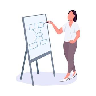 Kobieta na spotkaniu biznesowym płaski kolor bez twarzy charakter. dama biznesu. pracownik biurowy przedstawia swój projekt ilustracji na białym tle kreskówki do projektowania grafiki internetowej i animacji