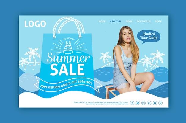Kobieta na stronie docelowej sprzedaży mody morze