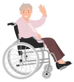 Kobieta na wózku inwalidzkim macha ręką z uśmiechniętą twarz
