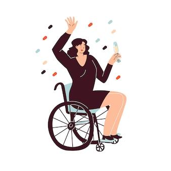 Kobieta na wózku inwalidzkim świętuje nowy rok z lampką szampana w dłoni happy