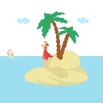 Kobieta na wyspie, wakacje lato, słońce, atrakcyjne wakacje na morzu, wakacje poświęcić podróż, ilustracja. letnia zabawa, egzotyczne piękno, turystyczny styl życia, kurort glamour.