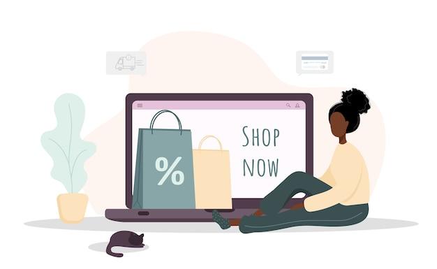 Kobieta na zakupy. szczęśliwa afrykańska dziewczyna robi zakupy w sklepie internetowym. ilustracja kreskówka na białym tle