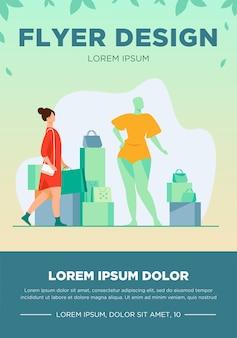 Kobieta na zakupy w sklepie mody. klient z torby, manekin, akcesoria płaskie wektor ilustracja. konsumpcjonizm, konsument, koncepcja zakupu odzieży