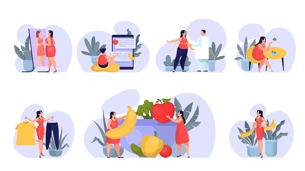 Kobieta na zestaw diety. idea zdrowego odżywiania i posiłku