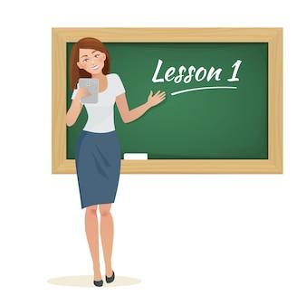 Kobieta nauczyciel stoi przy tablicy