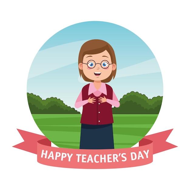 Kobieta nauczyciel w okularach z napisem dnia nauczyciela i ramą wstążki