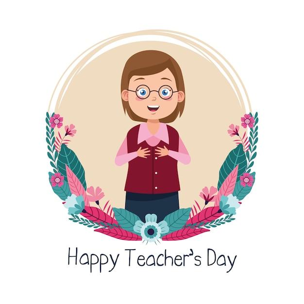 Kobieta nauczyciel w okularach z napisem dzień nauczyciela okrągłą ramką