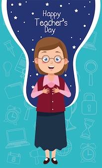 Kobieta nauczyciel w okularach z napisem dzień nauczyciela