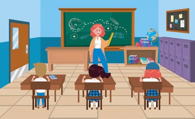 Kobieta nauczyciel z dziewczynami i chłopiec uczniami z książkami
