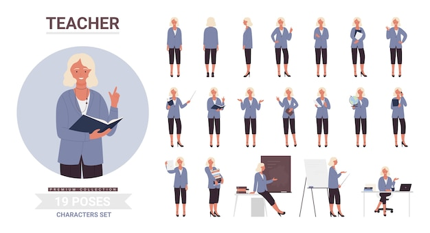 Kobieta nauczycielka stawia zestaw, nauczyciel w szkole kreskówka w pracy