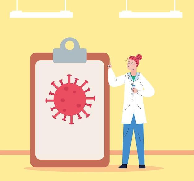 Kobieta naukowa ze schowkiem i szczepionką do badań cząstek covid19