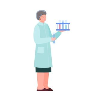 Kobieta naukowiec lub asystent laboratorium płaskie wektor ilustracja na białym tle