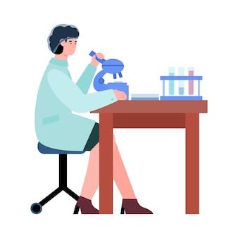 Kobieta naukowiec przeprowadzająca badania jakości żywności lub analizę medyczną i testy w laboratorium