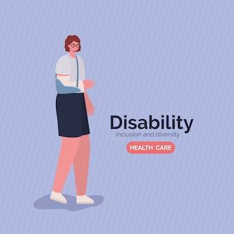 Kobieta niepełnosprawna kreskówka z obsadą na ramię z motywem różnorodności inkluzji i opieki zdrowotnej.
