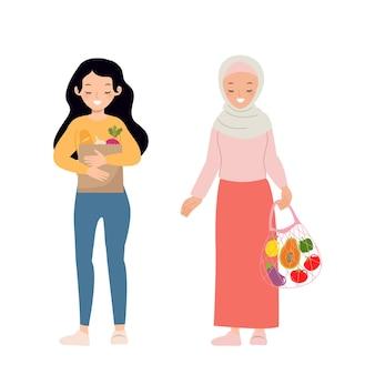 Kobieta niosąca eko torbę na zakupy zapisz koncepcję kampanii środowiskowej płaski wektor kreskówka projekt