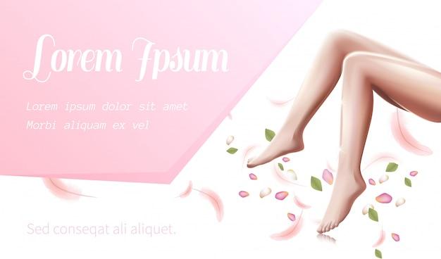 Kobieta nogi opieki zdrowotnej, gładkie stopy kobieta ulotki