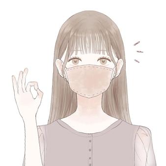 Kobieta nosi maskę z tkaniny, ing ok znak. na białym tle.