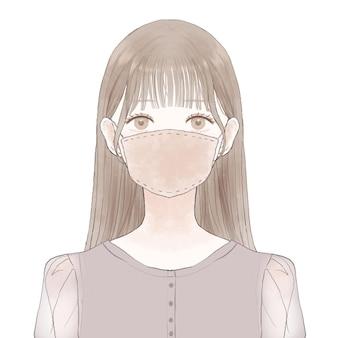 Kobieta nosi maskę z tkaniny. na białym tle.