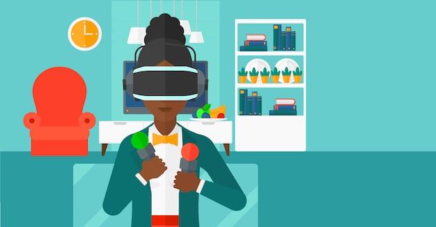 Kobieta nosi słuchawki wirtualnej rzeczywistości