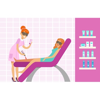 Kobieta o depilacji nóg za pomocą laserowego sprzętu do usuwania włosów. kolorowa postać z kreskówki ilustracja