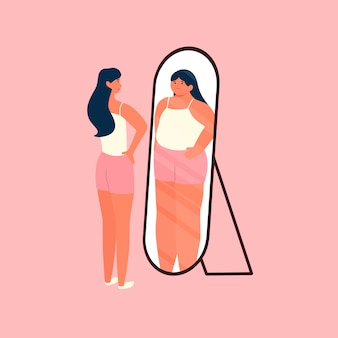 Kobieta o idealnych ciałach, patrząca w lustro, czująca się niepewnie i gruba ludzka postać