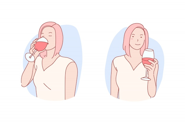 Kobieta o kieliszek wina ilustracji