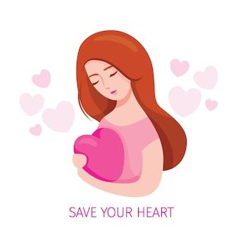 Kobieta obejmująca kształt serca i dbająca o kształt serca z czułością, urodą, wesołą